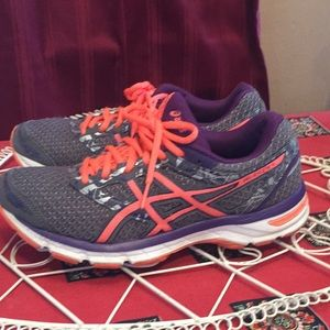 ASICS 8.5 gel excite 4 gray purple orange tennis